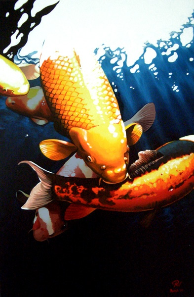 Painting of some koi on a sunny day