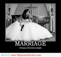 A funny perspective on marriage where the bride is holding a gun and a bottle of alcohol. Marriage is stressful and requires a lot of effort and work to make it successful. Unfortunately, some marriages do surface other issues like alcoholism; therefore it is important to maintain a healthy relationship.