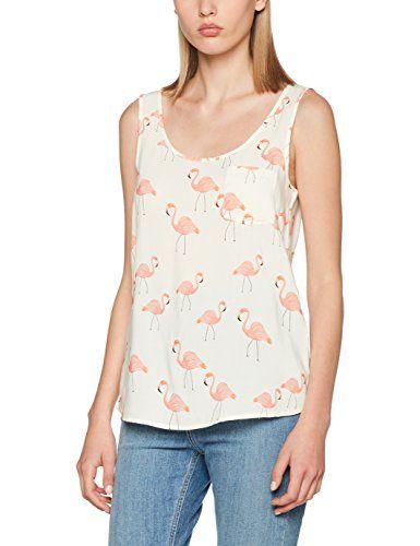 ONLY Onlflamingo S/l Iston Top Wvn, T-Shirt Donna, Multicolore (Cloud Dancer Aop:Flamingo Aop), 40