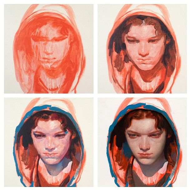 "James Jean, my favorite contemporary artist ~ Cameron Monaghan, Acrylic and Oil on Wood Panel, 12 x 12"", 2012 - I love getting a look into an artist's process"