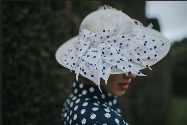 'Lady' shallow brimmed hat made with hand rolled, vintage cotton organdie petals... perfect for any formal occasion this season and flattering for all ages. #luxuryfashion #millinerycouture #madeinuk #accessories #vintageinspired #polkadot #polkadots #millinery #hats #raceday #racewear #royalascot #ascot #hat #womensfashion #hatters #madeinengland