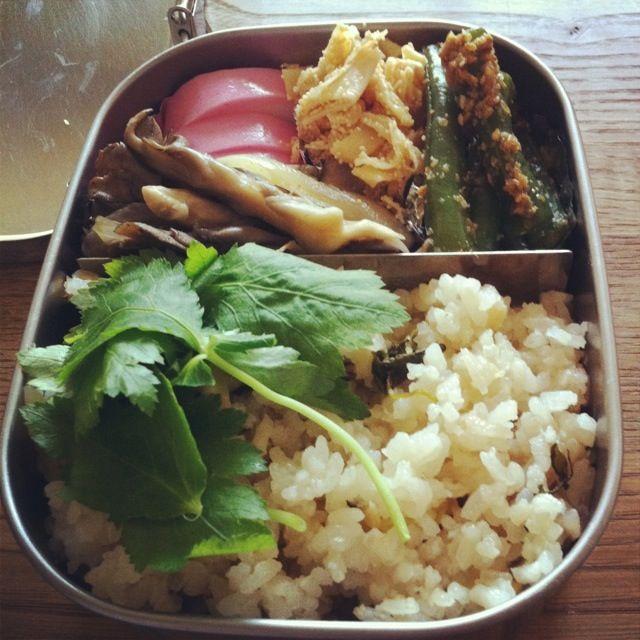 おはようお弁当。連休明け。がんばろ - 6件のもぐもぐ - たけのこご飯、まいたけ炒め、いんげん胡麻和え、たけのこたらこ和え、かまぼこ by Hitomi FURUKAWA