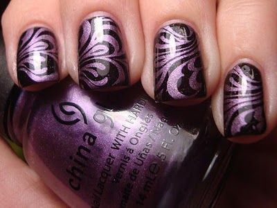 Purple and Black Swirls: Nails Art, French Manicures, China Glaze, Black Nails, Colors Combinations, Nails Polish, Black Swirls, Cool Nails, Marbles Nails