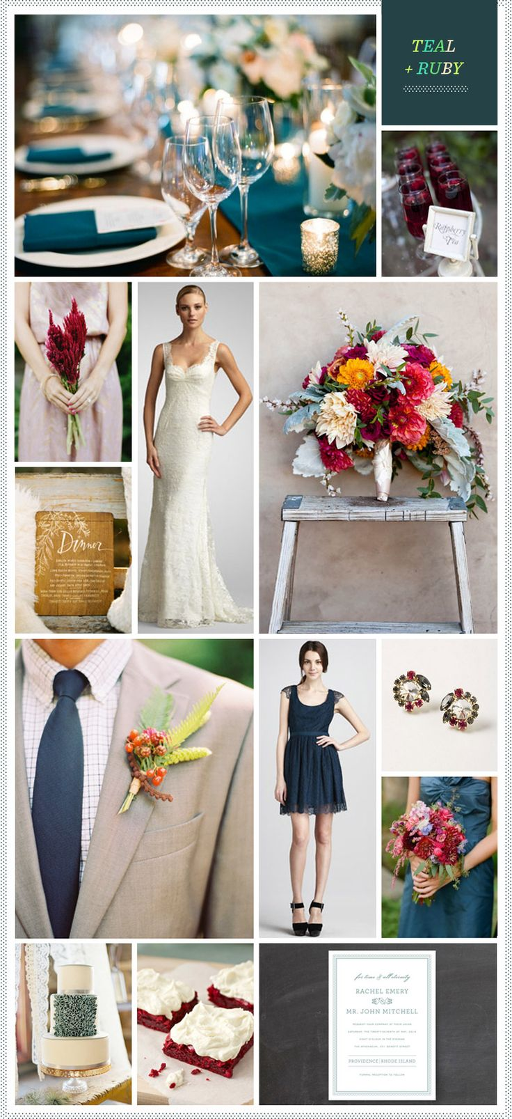Teal + Ruby Wedding Inspiration