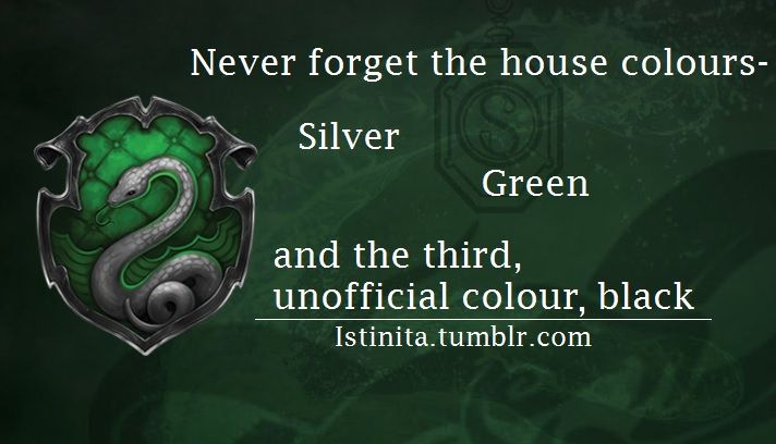 Slytherin: Never forget the hosue colours - silver, green and the third, unofficial colour, black
