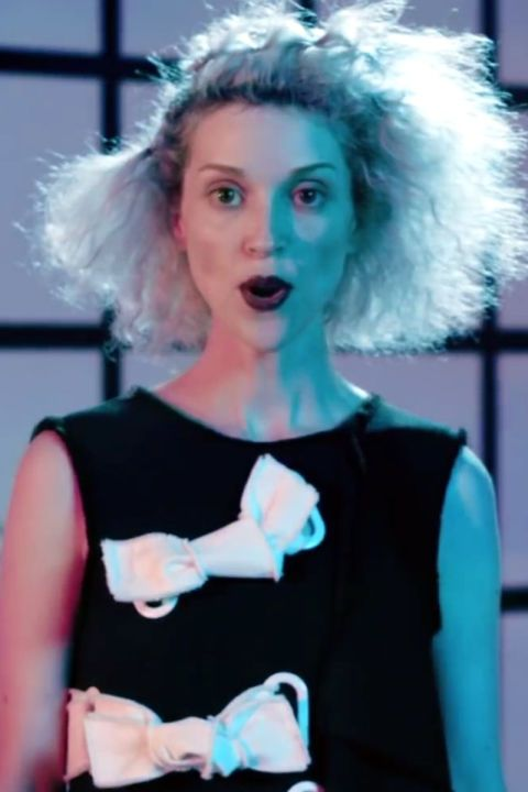 St. Vincent's gravity-defying style in our list of top music video beauty.