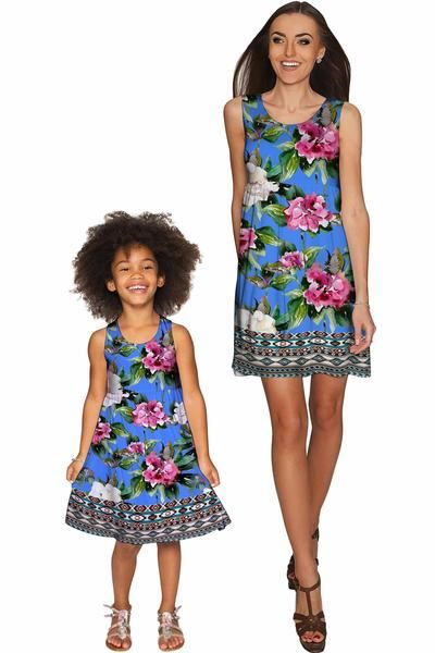 Aquarelle Sanibel Empire Waist Mommy and Me Dress - Pineapple - Mommy and Me Clothing