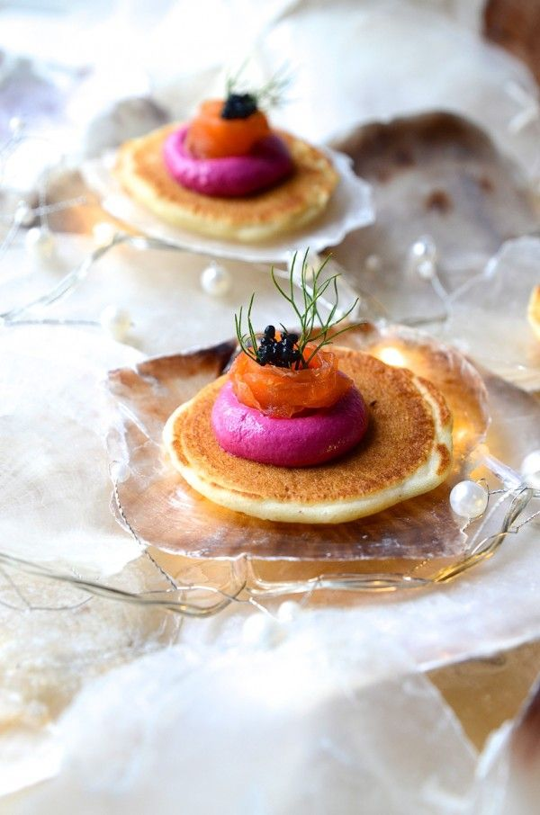 Buckwheat blinis with beetroot and feta pâté, smoked salmon ribbons and caviart |