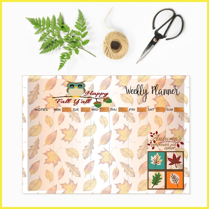Autumn/Fall Weekly Planner to Organise your life created by The Art of Creativity Studio
