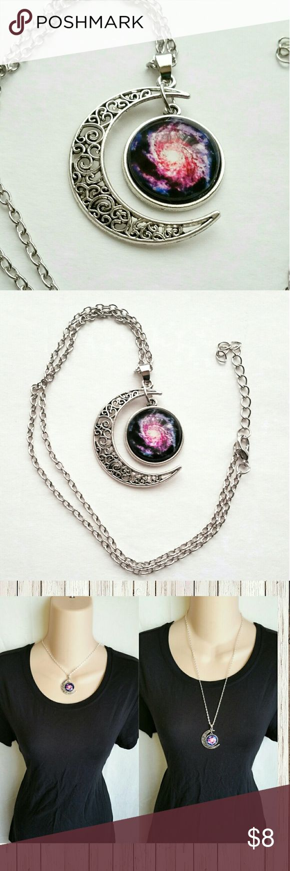 Colorful nebula milky way galaxy moon necklace Colorful nebula milky way Starburst Moon rainbow universe galaxy tumblr necklace pendant silver  New! Pick your length- 16 18 or 22 inch chain. Please specify when purchasing :)  Bundle for discounts!  Beautiful rainbow universe galaxy tumblr necklace. Pics showing various chain lengths..   #ashleisgoodies #moon #nebula #cosmos #celestial #crescent #colorful #rainbow #white #pagan #silver #universe #galaxy #tumblr #necklace #pendant #jewelry…