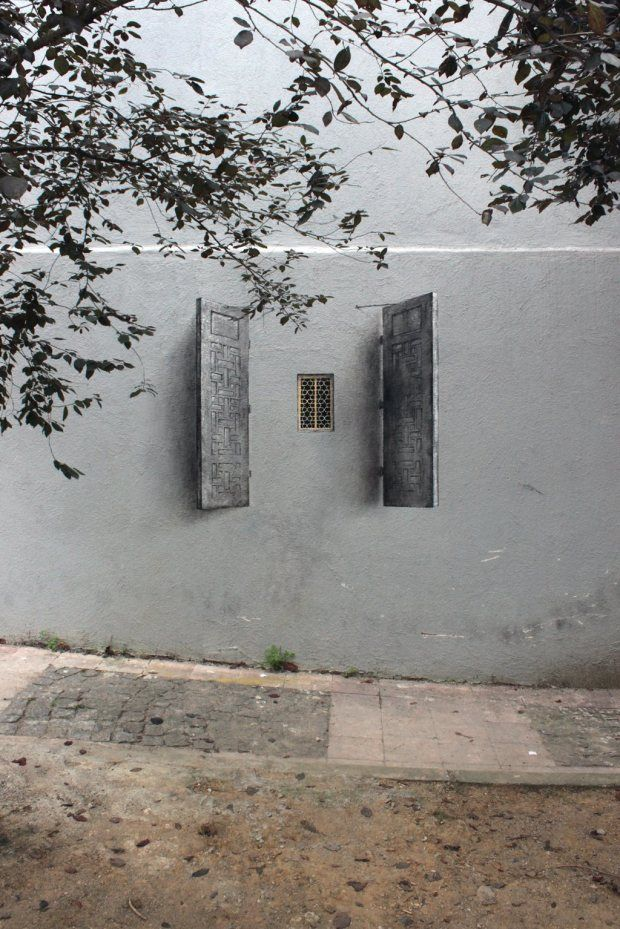 little window, big shutters by Pejac in Istanbul (barsanworld: via enversdudecor)