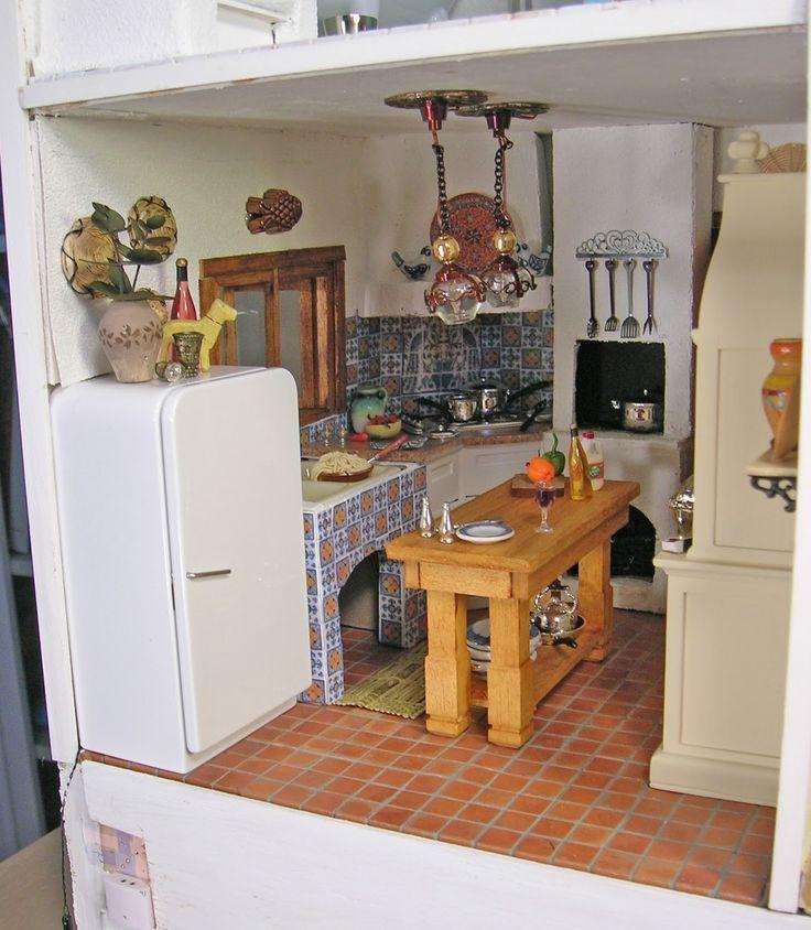 Mediterranean Villa 1:12 scale Dollhouse Kitchen