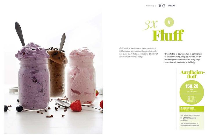 Het recept voor deze aardbeien fluff van Fajah Lourens komt uit haar het boek Killerbody 2. Een heerlijke snack, het is net ijs! Bekijk het recept hier.