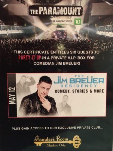 #tickets Jim Breuer 6 VIP Private Box Tickets Paramount NY May 12, 2018 please retweet