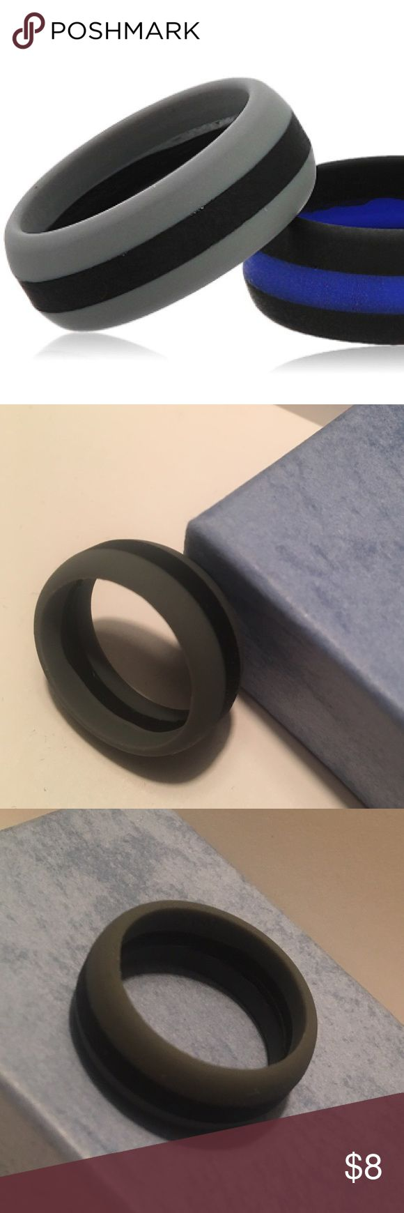 "Men's Gray/Black Silicone Wedding Ring, Size 11 Brand new, never worn black/gray striped silicone wedding ring. Metal rings can get in the way of exercise or become damaged, or worse yet crush fingers. Weightlifting and Crossfit exercises can make the ring dig into your finger. With this silicone ring there is no more need to take off your wedding band for sports or other physical activities whether at work or during play. There is also a safety ""break away"" that occurs around 40lbs. NAK…"