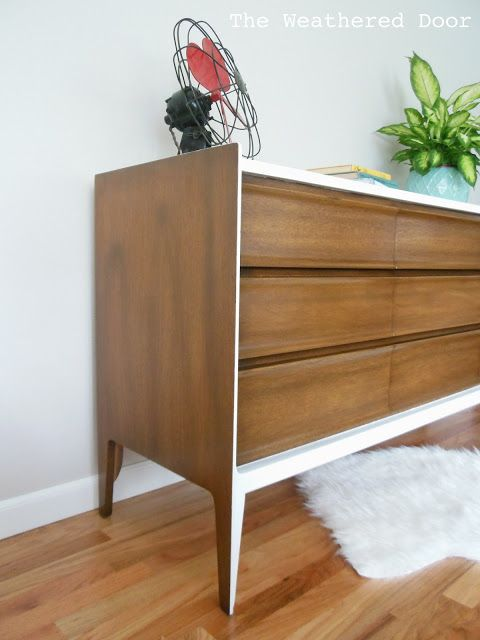 Clever: A walnut and white mid century dresser, only the front and top were painted in order to highlight the crisp design.