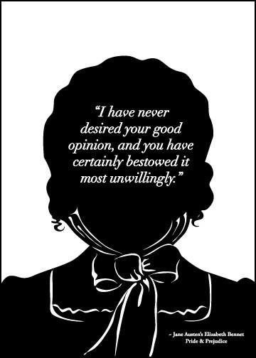 Jane Austen Print Elizabeth Bennet Good Opinion by 10cameliaway. $13.00, via Etsy.