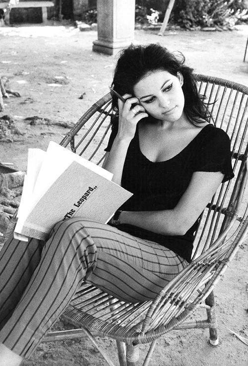 Claudia Cardinale going over her script for The Leopard (1963)