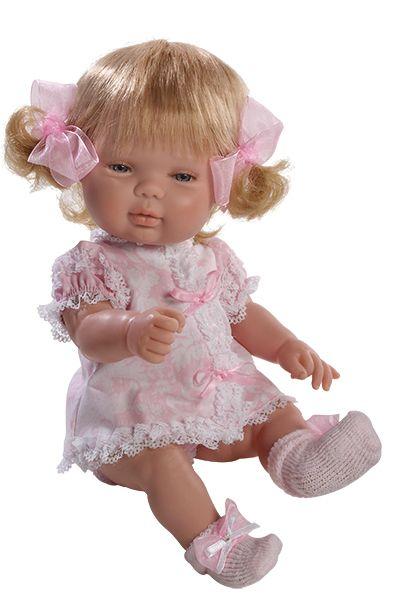Realistická panenka holčička v  růžových krajkových šatičkách od firmy Berjuan