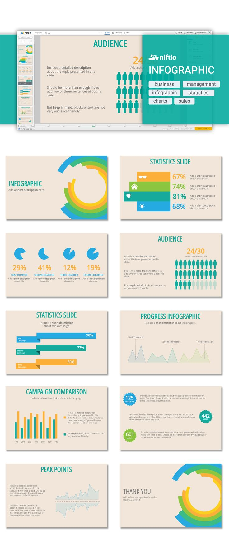 """Infographics help you deliver complex information in a visually attractive way. Look for the """"Audience Infographic"""" template and start from there.  #infographics #presentation"""