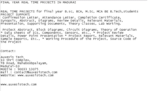 REAL TIME PROJECTS for final year Bsc, BCA, MSc, MCA BE BTech - best of confirmation letter format for project training