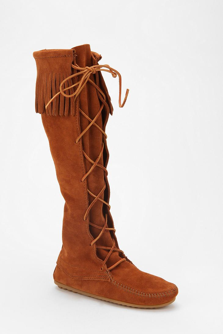 Minnetonka suede leather knee high tall lace up moccasin fringe boots - Minnetonka Front Lace Hardsole Knee High Boot Online Only