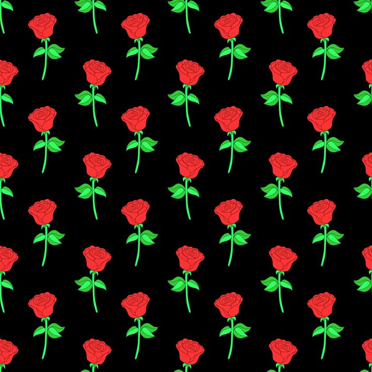 Seamless pattern with the image of a large rose, bright red rose with green stem on a black background.