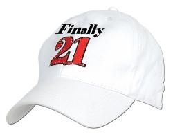 1 - White ballcap that says: 'Finally 21' embroidered on the front and has an adjustable Velcro back for easy adjustment. One size fits most.