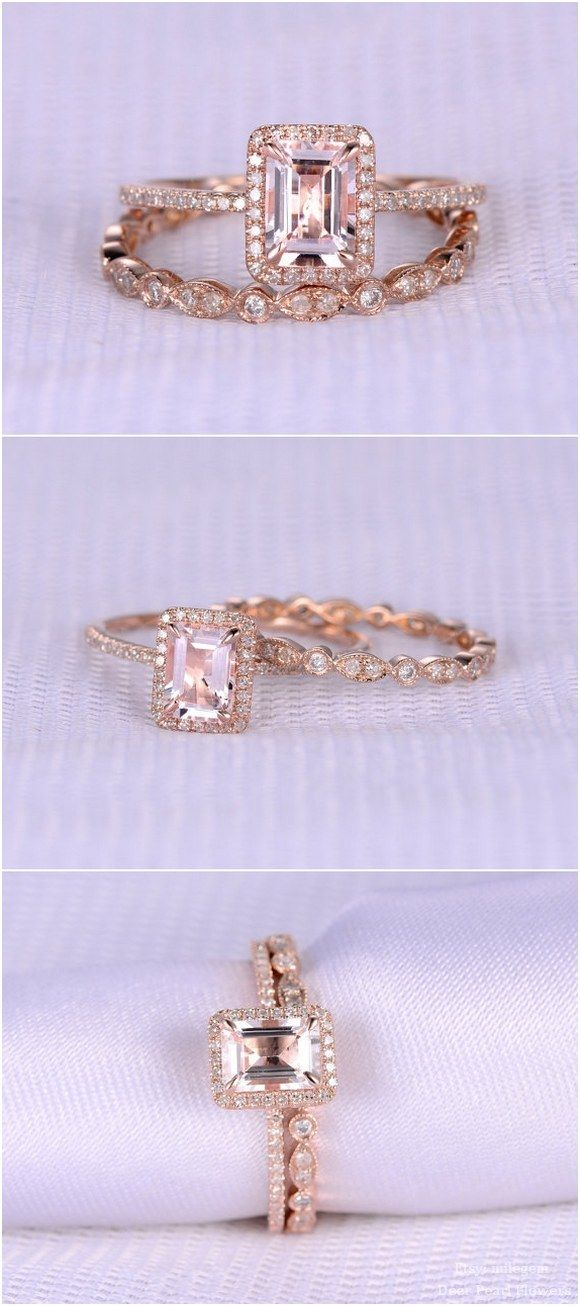 rose gold emerald wedding ring set / http://www.deerpearlflowers.com/rose-gold-engagement-rings-from-milegem/