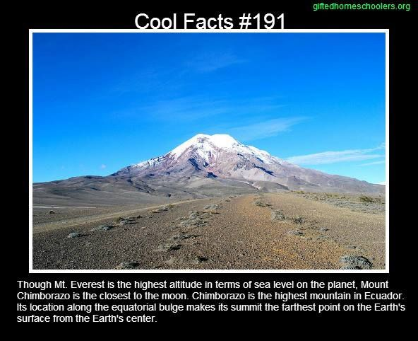 Cool facts #191  http://en.wikipedia.org/wiki/Chimborazo_%28volcano%29