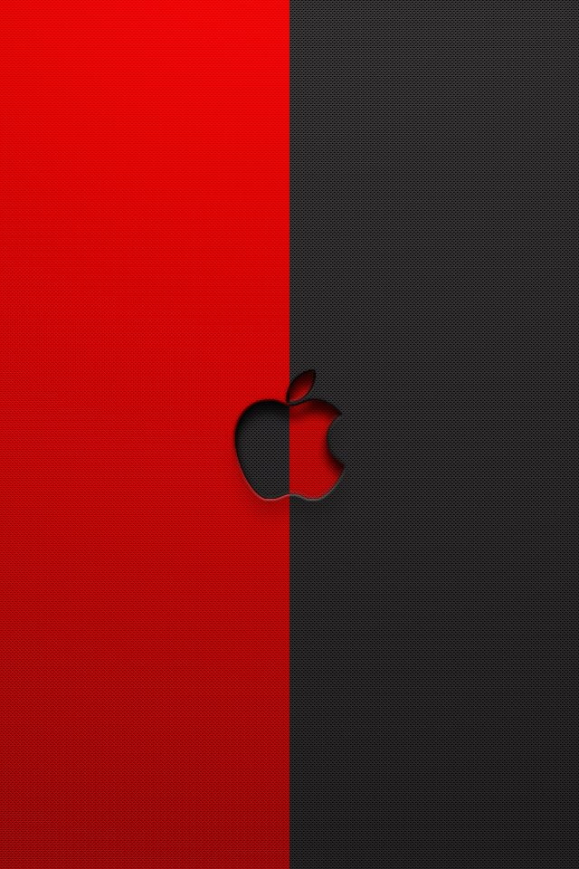 Red and Black Apple Logo Picture Wallpaper For iPhone 4