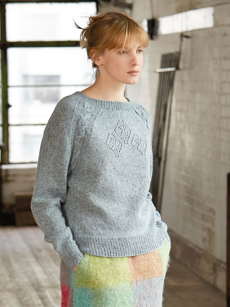 Brannagh - Knit this ladies long sleeved sweater from Rowan Knitting & Crochet Magazine 58, a design by Marie Wallin using the gorgeous yarn Felted Tweed (wool.) With cable details along the raglan edge and placement lace detailing, this knitting pattern is suitable for the experienced knitter.