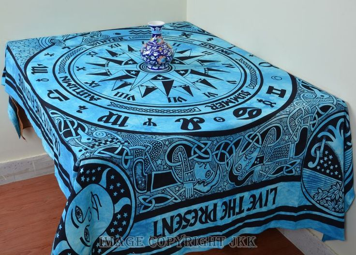 Indian Blue Compass Rectangular Cotton Tablecloth Dining Table Cover IWUSTC45