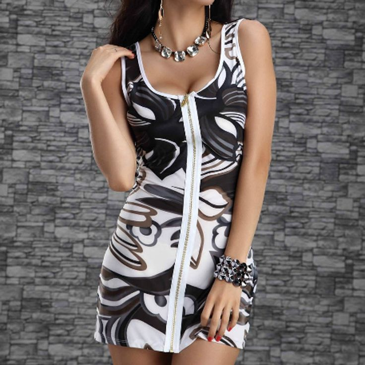 Front zipper floral white and black bodycon dress - Si Joly