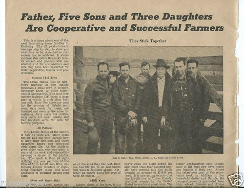 1943 Article about farming family in Union County, KY near Henshaw, Kentucky ~ the Lovell family.   Corn & Hereford Cattle were their specialties.  Sold on ebay.