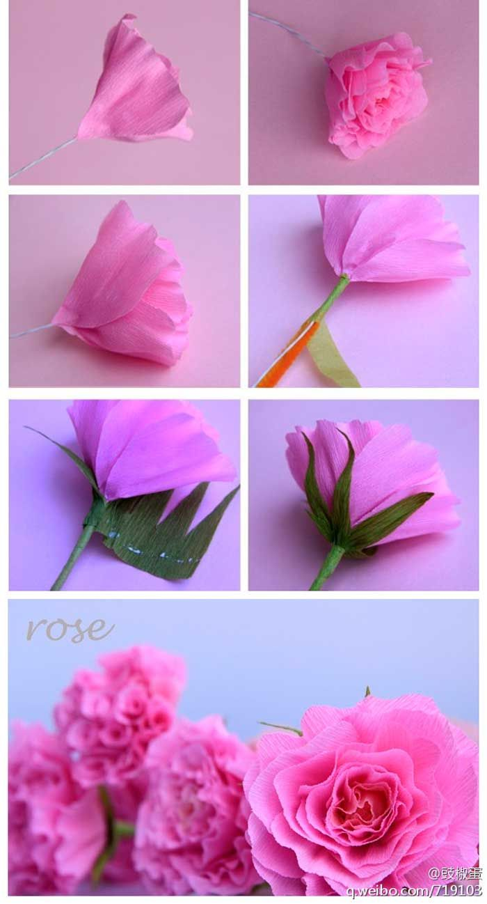como fazer flor rosa de papel crepom decoracao casamento aniversario batizado (3)