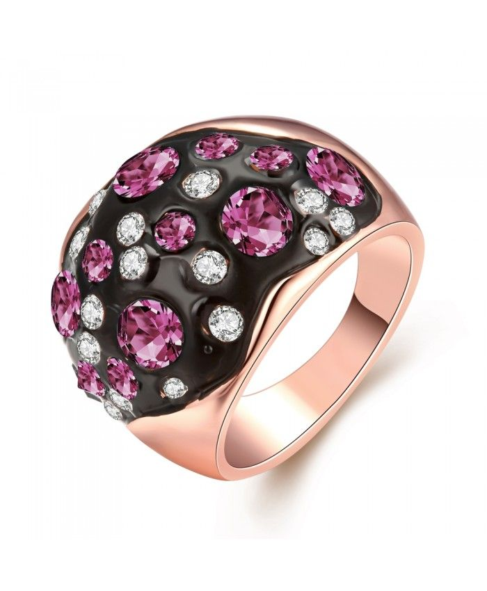 Ouruora Black Enamel With Purple and White Rhinestone Ring