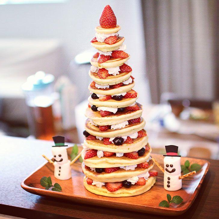 #xmas #xmastree #xmasparty #pancake #xmascake #tower #クリスマス #クリスマスパーティー #パーティー料理 #スイーツ #誕生日 #誕生日ケーキ #birthday #cake #party #いちごタワー