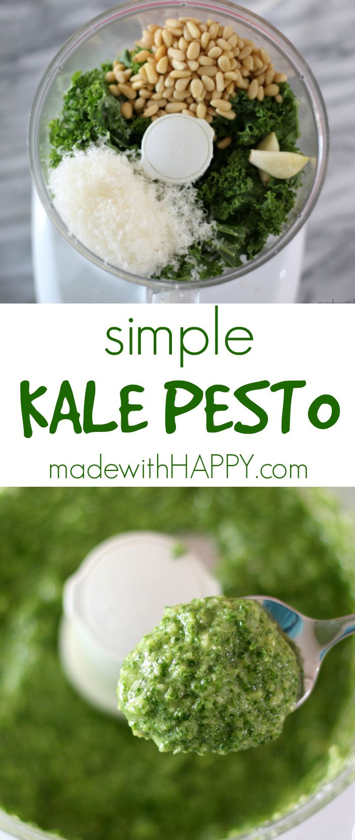 Simple Kale Pesto   Easy Meatless Monday Meal   Easy Kale Pesto   www.madewithHAPPY.com
