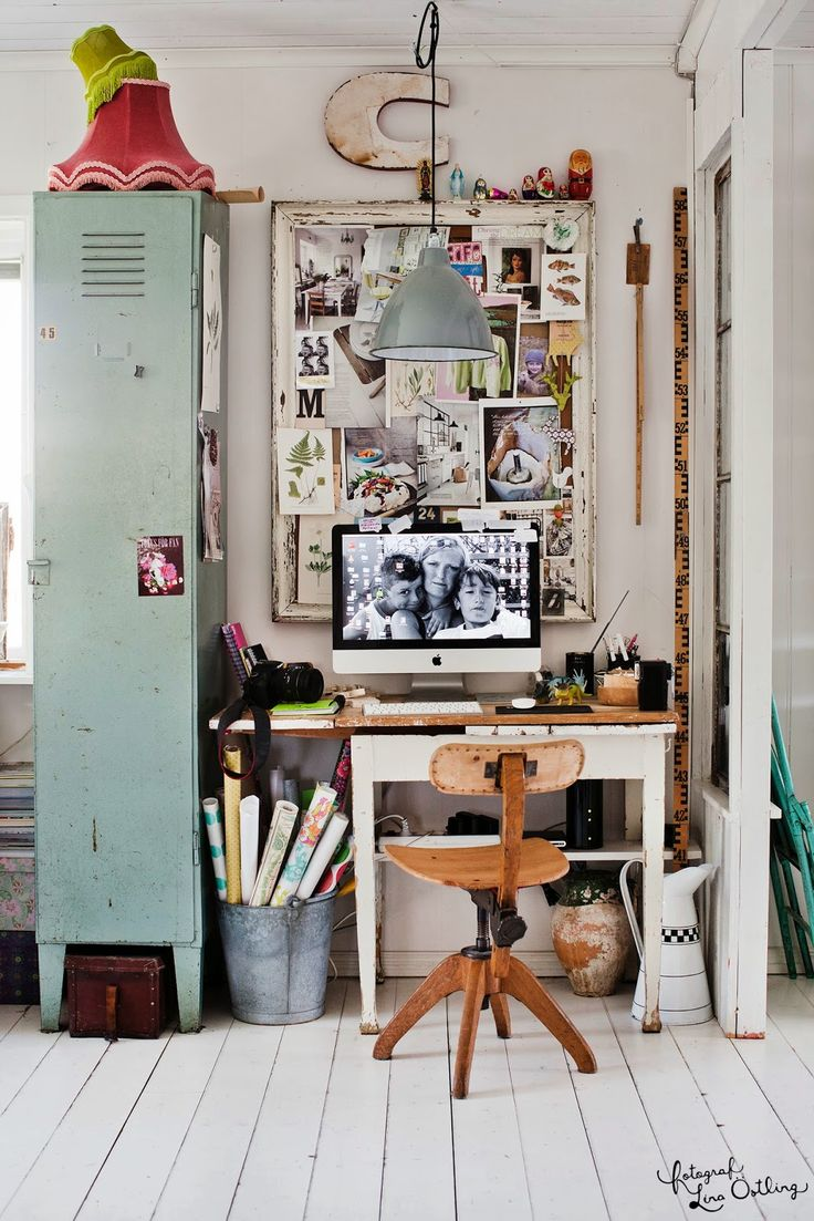 Eclectic Industrial Workspace  *locker * inspiration board *chair *cool details