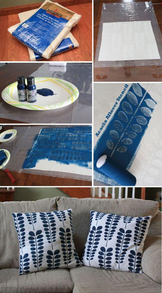 Almofadas com stencil fácil!