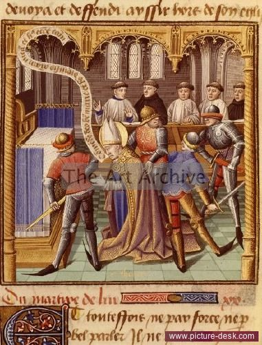 Assassination of Saint Thomas Becket by Vincent de Beauvais, Musée Condé Chantilly.jpg Location:  Musée Condé Chantilly  Description:  Assassination of Saint THOMAS Becket, archbishop of Canterbury, 1118-70, on 29 December 1170 by soldiers of Henry II of England in Canterbury Cathedral, folio 347R of Le Miroir Historial (The Mirror of History), by Vincent de Beauvais, 1190-1264 French scholar and encyclopaedist, 15th century French manuscript