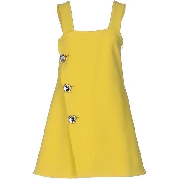 Marni Short Dress ($715) ❤ liked on Polyvore featuring dresses, yellow, tent dress, square neckline dress, zip dress, sleeveless dress and mini dress