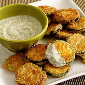 Fried Zucchini Recipe with Cool Dill Dip Could be used with rice flour & plain greek yogurt