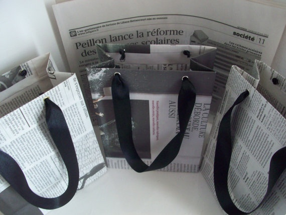 Recycled Newspaper Gift Bags by La Pomme et La Pipe on Etsy, $5.00