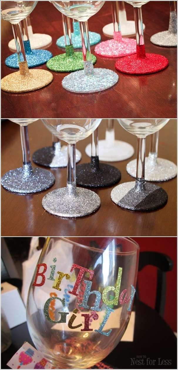 DIY glitter up wine glasses