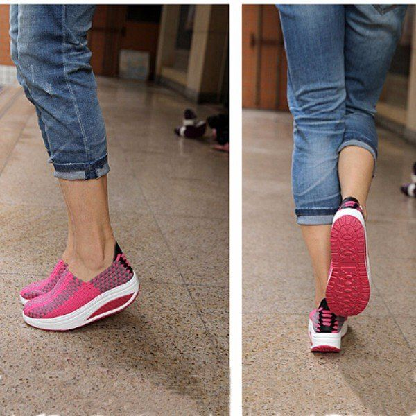 Comfortable Stretch Casual Breathable Knitting Platform Slip On Shook Shoes Sneakers - NewChic