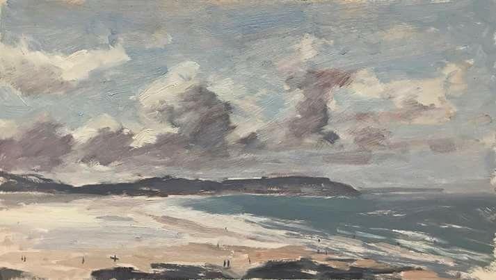 Artist:  Spit of land - Devon - Woolacombe Beach. - Clare Bowen www.SunEdenArtistsGear.com