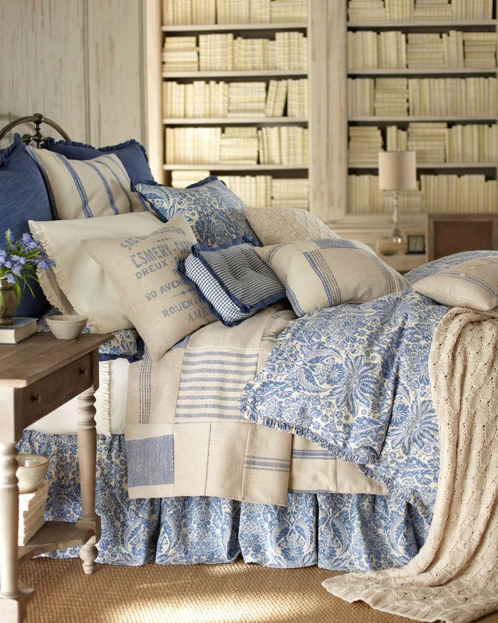 French laundry home indigo sea bed linens home and for Blue and cream bedroom design