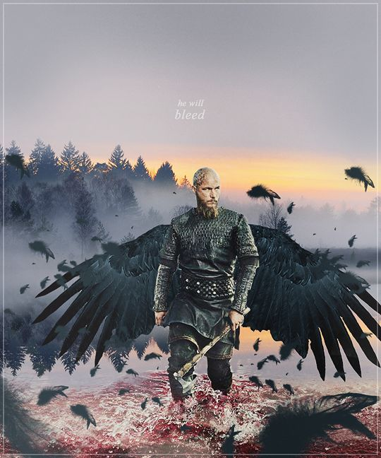 """saevio: """"""""They say Ragnar is descended from Odin."""" """"He is still human. If you cut him, he will bleed."""""""""""